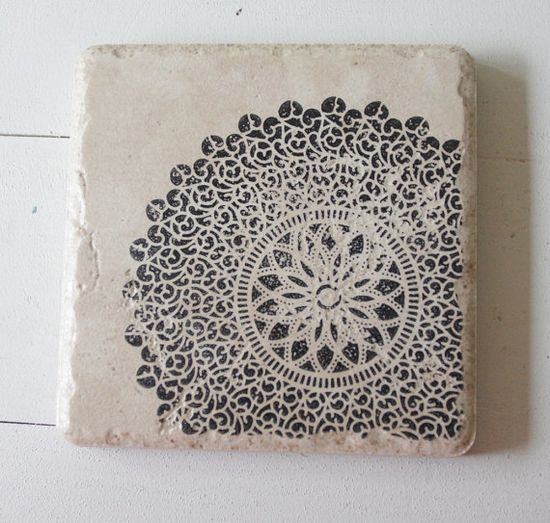 Black Lace Print Coasters from TheShappyCreekShop on @Etsy!