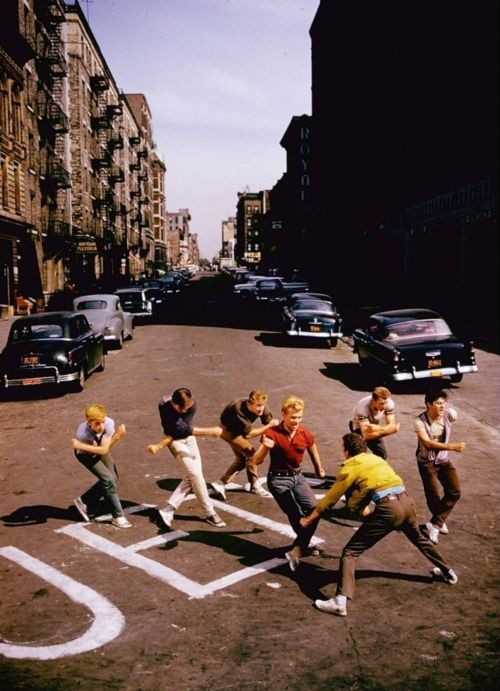 Assorted Jets rehearse on the set of West Side Story (1961, dir. Robert Wise & Jerome Robbins) Photo by Gjon Mili for LIFE.