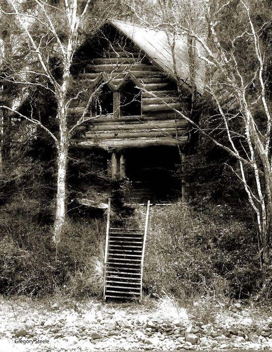 old abandoned log home