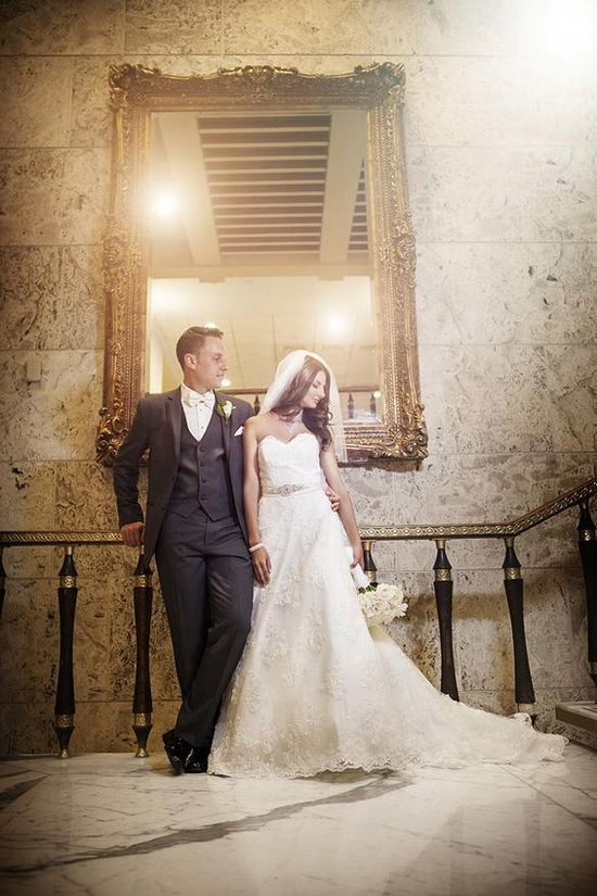 Art Deco look to this bride and groom wedding photo