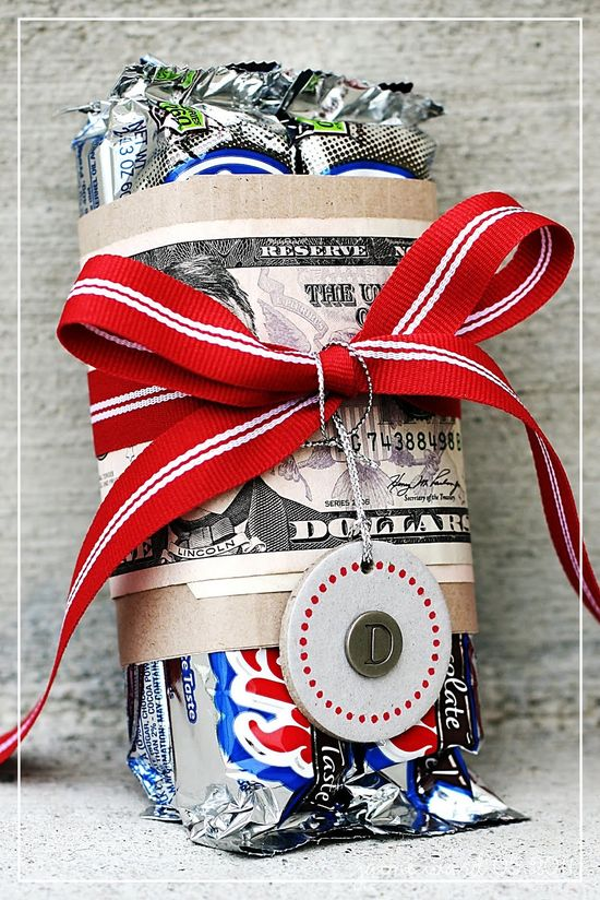 Favorite candy & cash...fun gift for the hard-to-buy-for teen. Idea for that college bound kid!