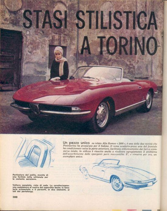 1962 Alfa Romeo 2600 Prototipo 621 by Pininfarina. Car was originally shown in Turin in '62 as a spider