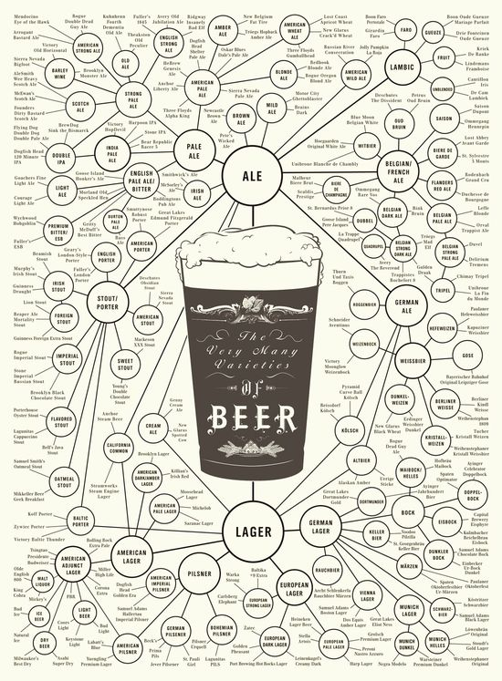 Beer Varieties chart - great gift for a beer connoisseur. #erindollar