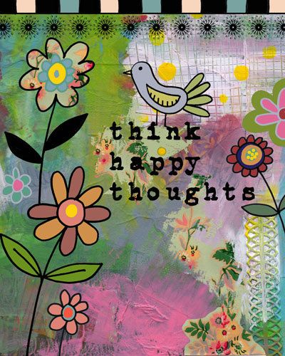 Think Happy Thoughts Inspirational Art Collage by BethNadlerArt, $15.00