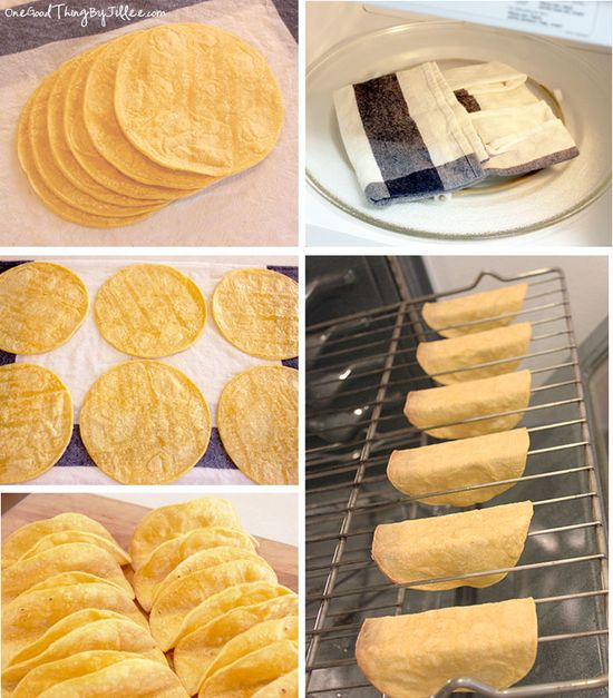 How to Make Your Own Baked Taco Shells-    Working with 6 tortillas at a time, wrap in a barely damp cloth or paper towel and microwave on High until steamed, about 30 seconds. Lay the tortillas on a clean work surface and coat both sides with cooking spray. Then carefully drape each tortilla over two bars of the oven rack. Bake at 375°F until crispy, 7 to 10 minutes.