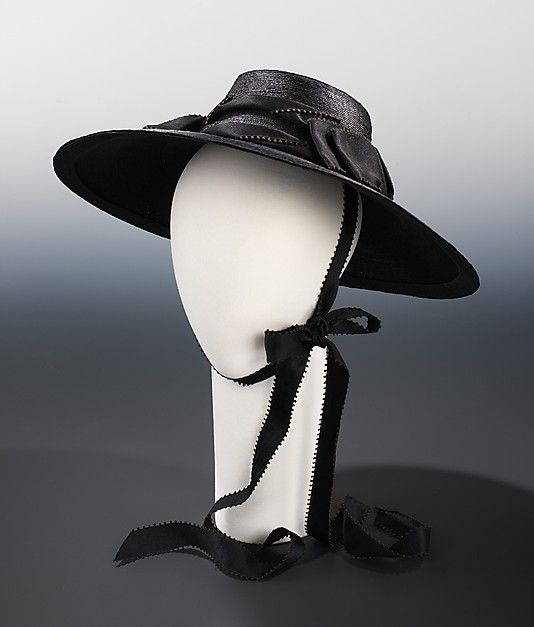 A lovely all black wide brimmed hat with chin ribbon ca. 1935. #vintage #fashion #1930s #hat
