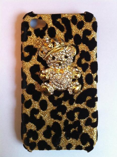 Gold Leopard Furry Skin Rhinestones Crown Bear Phone by BlingFairy, $25.00