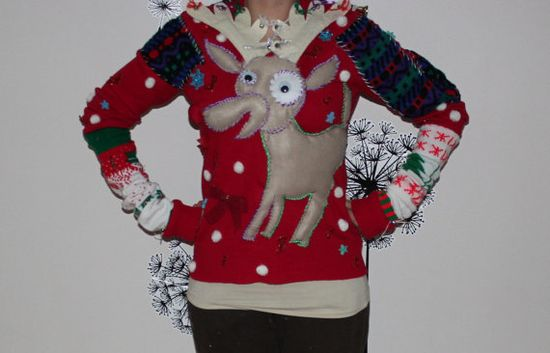 A stuffed animal and sweater all in one #uglysweaterparty