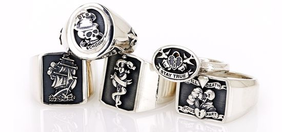 "Cool handmade ""tattoo"" collection for lovers of rock n roll jewellery. www.wisejewellery..."