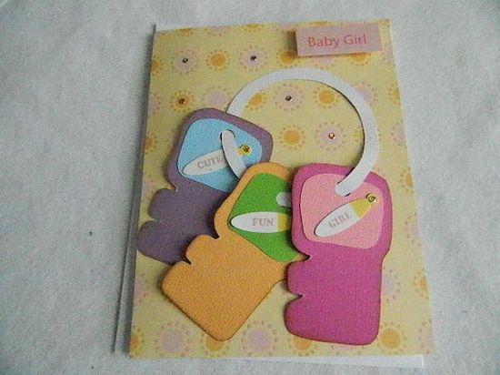 Baby Girl handmade card keys via Etsy