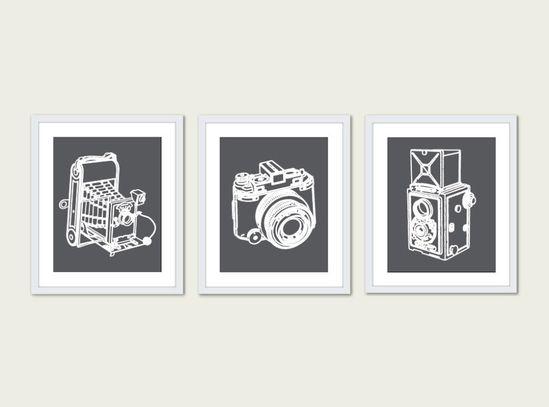 Vintage Cameras Print Set