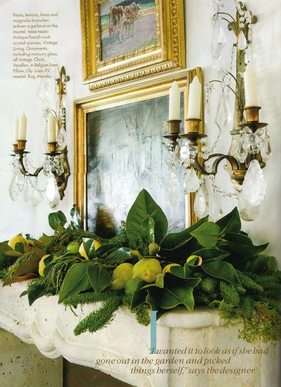Christmas mantel greenery and gold mix! LOVE!