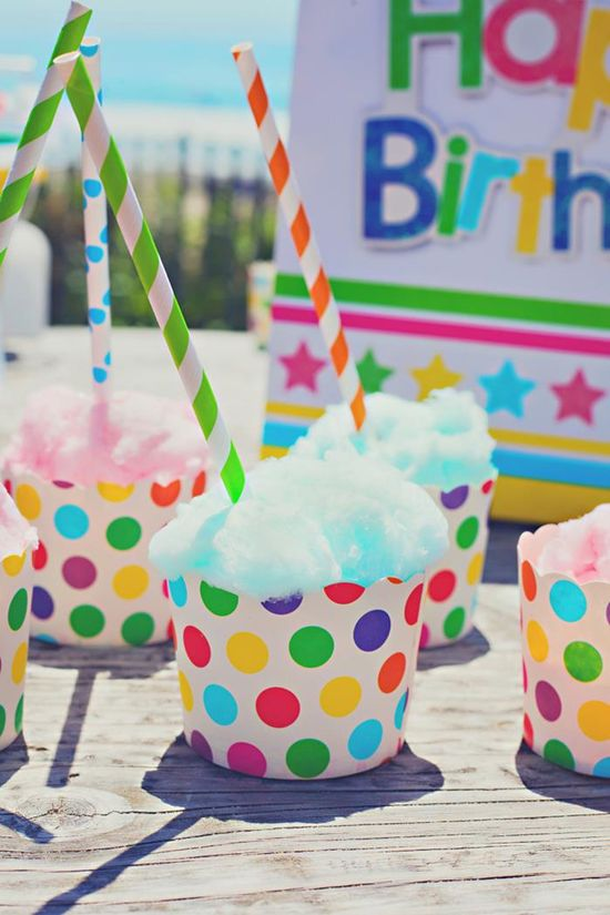 CUTE idea! Cotton candy in cupcake liners! Lots of Cute Ideas via Kara's Party Ideas KarasPartyIdeas.com #Beach #Party #Ideas #Supplies #snowconecupcakes #cottoncandy #cupcakes
