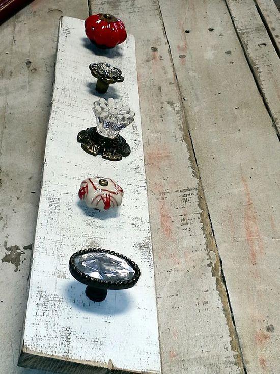 Knob Necklace Holder...Mismatched Knobs. ..Knob by ShabbyWorks, $32.00
