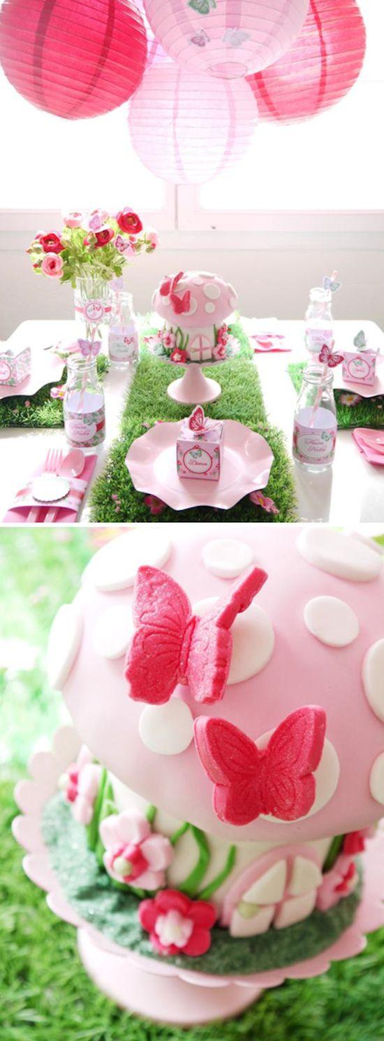 Woodland Fairy Pixie themed birthday party with SO MANY CUTE IDEAS! Via Karas Party Ideas KarasPartyIdeas.com #fairy #woodland #pixie #themed #birthday #party #cake #idea #supplies #decor #idea