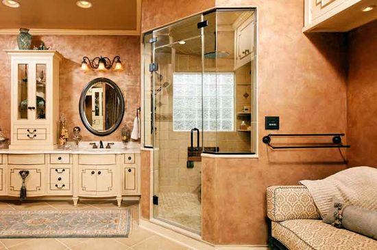 Mediterranean-inspired #bathroom #design by Visions Remodeling. #visionsremodeling #housetrends