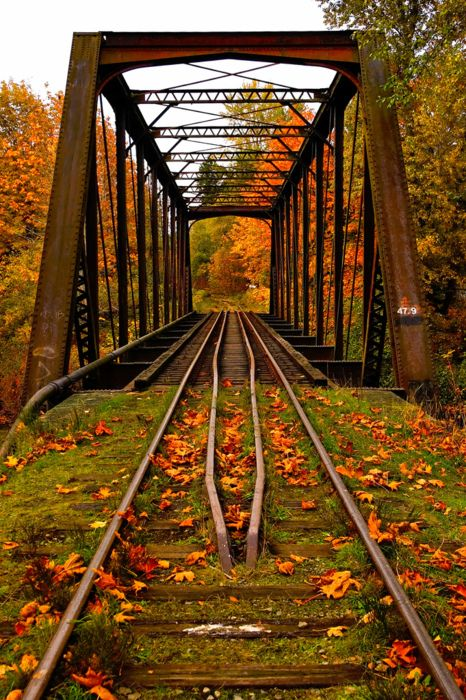 Autumn Railroad Bridge, Vermont