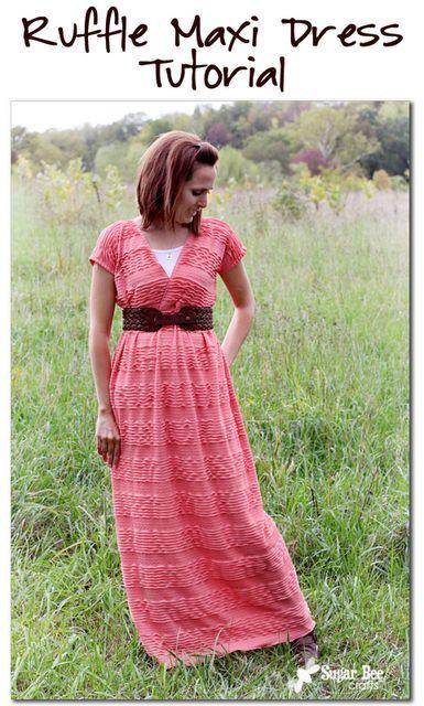 how to make an easy fun maxi dress: Ruffled Maxi Dress Tutorial