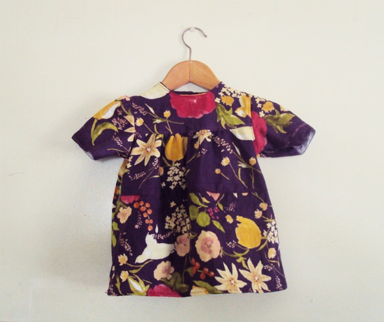 Baby's Tiered Dress, colorful baby dress in modern floral print, violet purple double gauze . via Etsy
