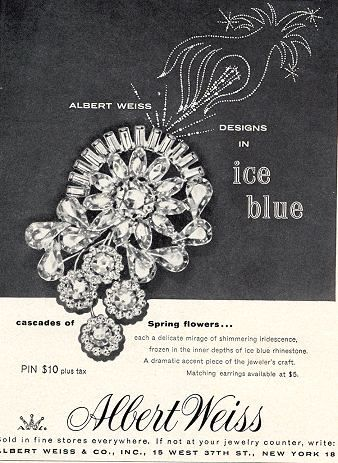 1958 ad for Albert Weiss Designs in Ice Blue