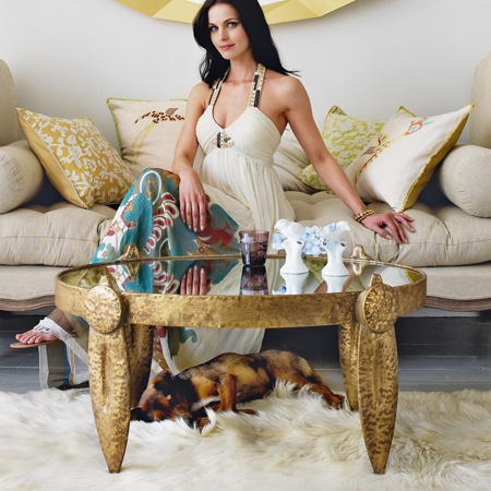 LUXE Hammered Gold Coffee Table To Enjoy More Beautiful Hollywood Interior Design Inspirations To Repin & Share @ InStyle-Decor.com Beverly Hills Enjoy
