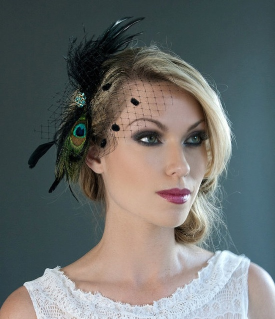 Peacock HeadPiece with Emerald Swarovski by MarisolAparicio, $85.00