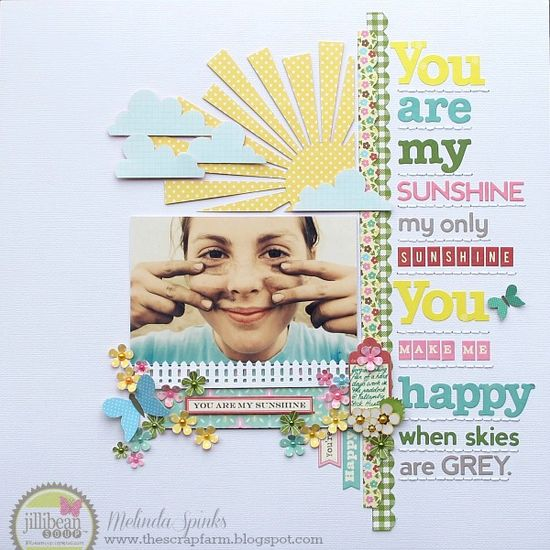 #papercraft #scrapbook #layout    You Are My Sunshine layout by Melinda Spinks.