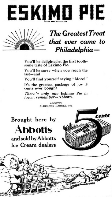 An adorably illustrated ad from 1922 for Eskimo Pies. #vintage #food #ad #1920s #ice_cream