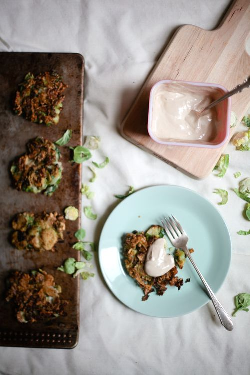 Brussels Sprout Latkes with Balsamic Dijon Sour Cream