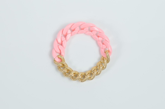 Peachy pink plastic chain with gold chain bracelet. $20.00, via Etsy.