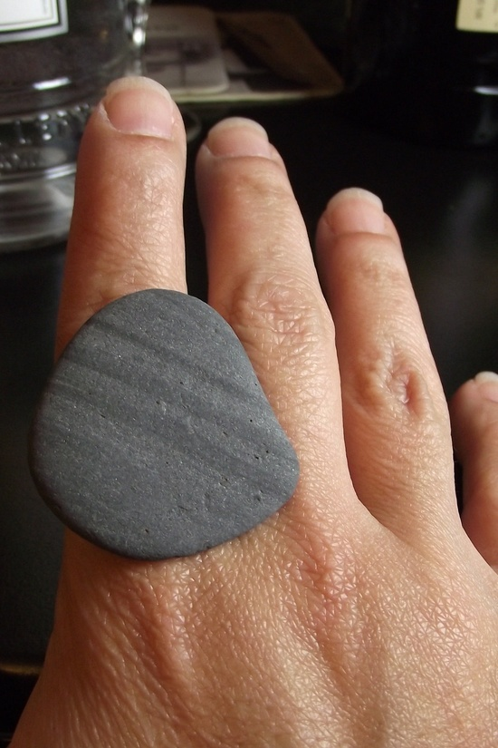 Beach Stone Jewelry - Adjustable STRIPED Ring - NICE ROCK. $25,00, via Etsy.