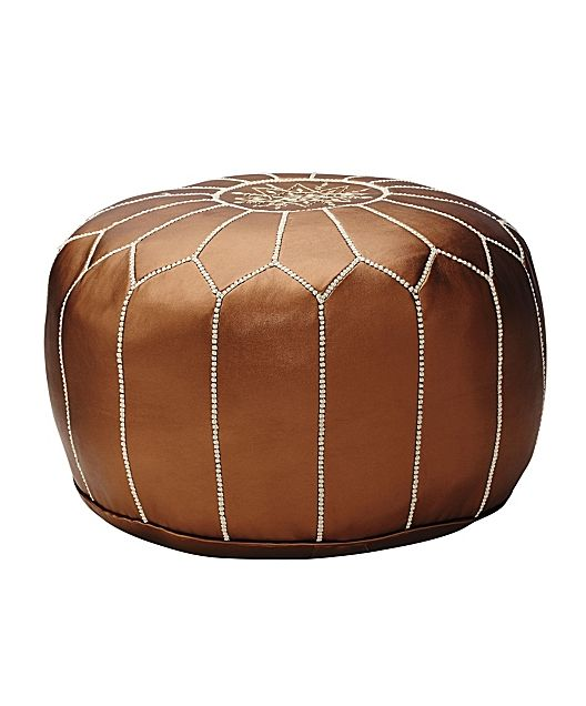 Moroccan leather pouf.