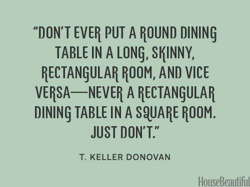The best shapes for your dining table. housebeautiful.com. #dining_table #designer_quotes