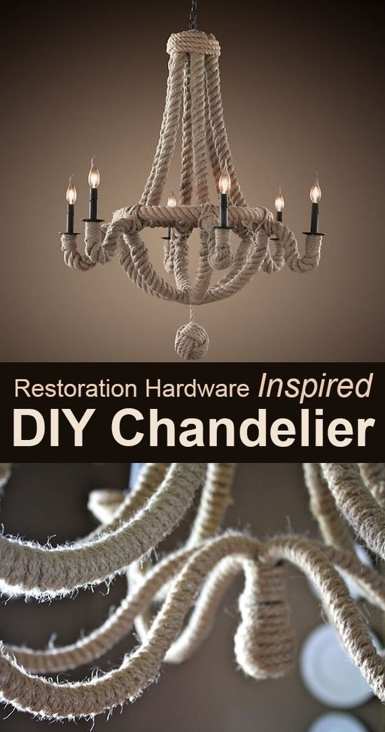 Wrap an existing chandelier in rope to replicate this Restoration Hardware lamp.