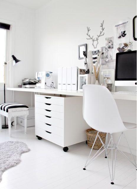 Home office ideas. Clean design, white