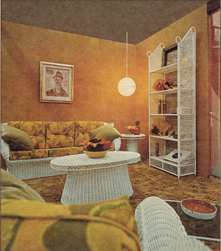 Orange Living Room Design 1970