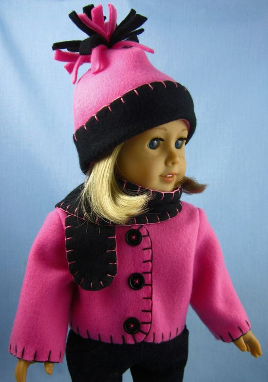 American Girl Doll Clothes  Fleece Jacket scarf and Hat by SewMyGoodnessShop, 18.00