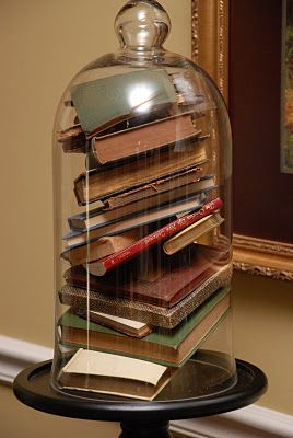 Ideas for decorating with books.  Awesome.