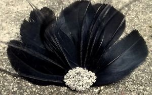 Beautiful black fan hair accessory with feathers
