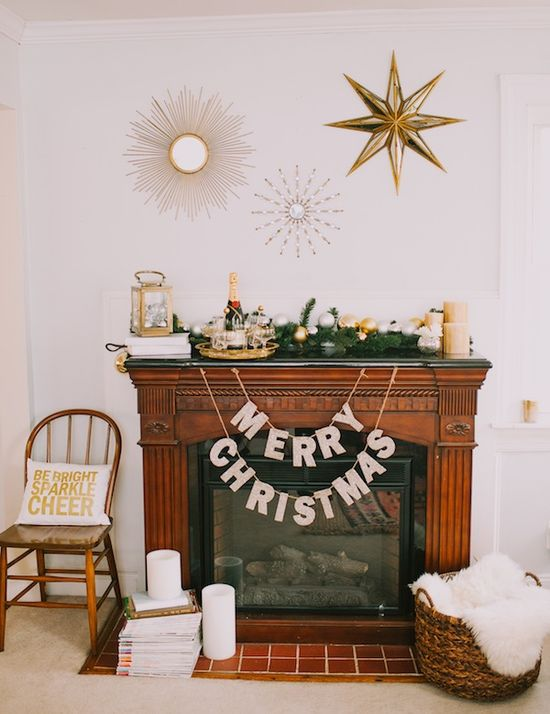 A Glam Holiday Mantle With Pottery Barn