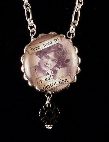 Vintage ephemera necklace...made by Laura Beth Love, Dishfunctional Designs