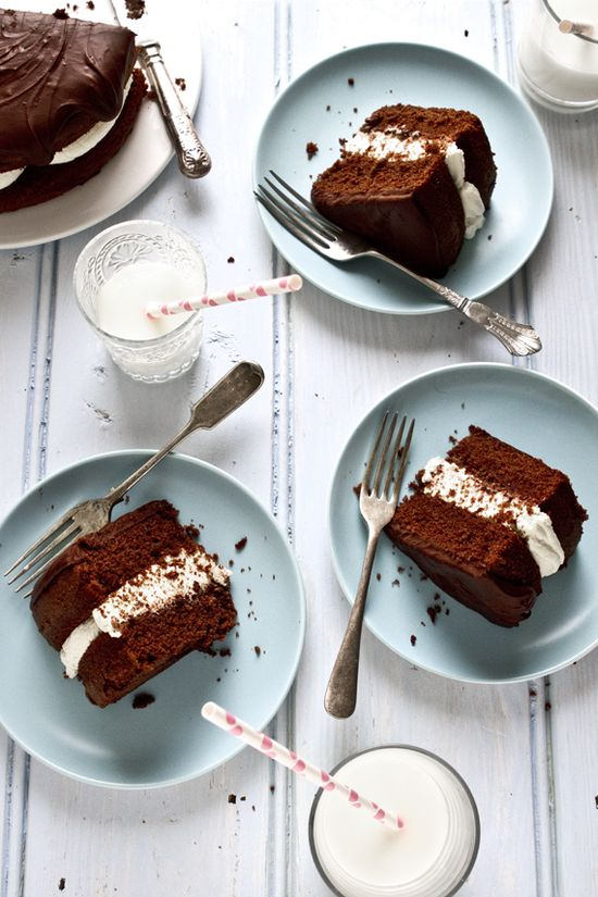 chocolate cake with mascarpone coffee cream, covered in chocolate ganache. decadent!