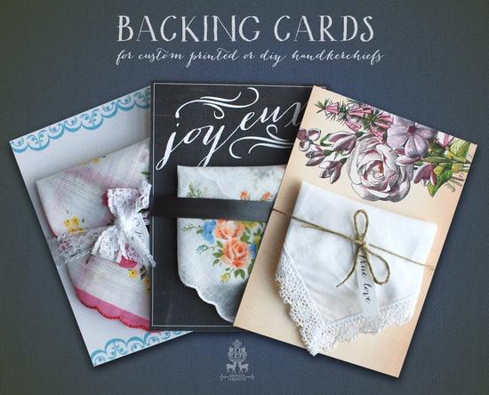 Backing Cards for Printed Handkerchief Invitations. $2.00, via Etsy.