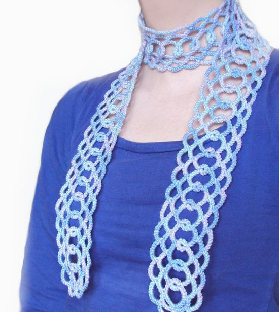Gorgeous scarf made with shuttle tatting