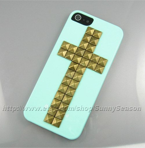 IPhone 5 case,Mint Green Cross Studded iPhone 5 Case,Bronze Pyramid Studs iPhone Case