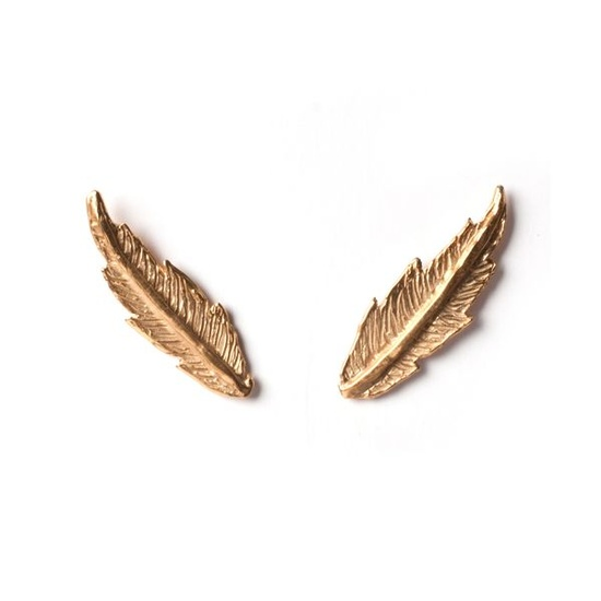 Featherana Yellow Gold Stud Earrings by Leila Kashanipour