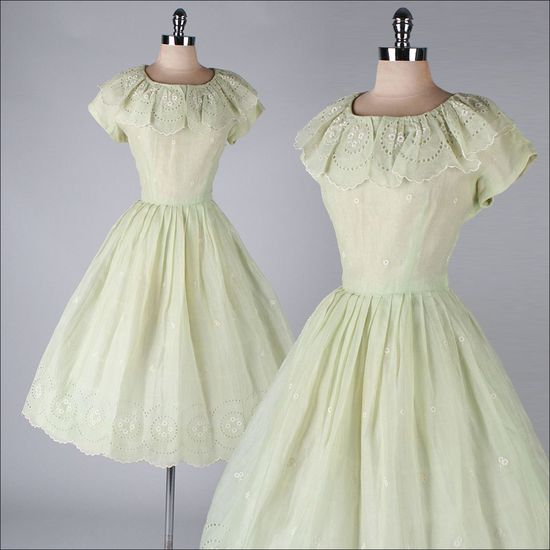 vintage 1950s dress . celery green organza .  #partydress #vintage #frock #retro #teadress #romantic #feminine #fashion