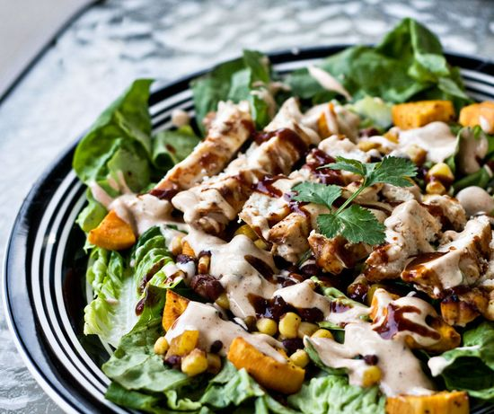 bbq chicken salad with creamy bbq cilantro lime dressing // erins food files