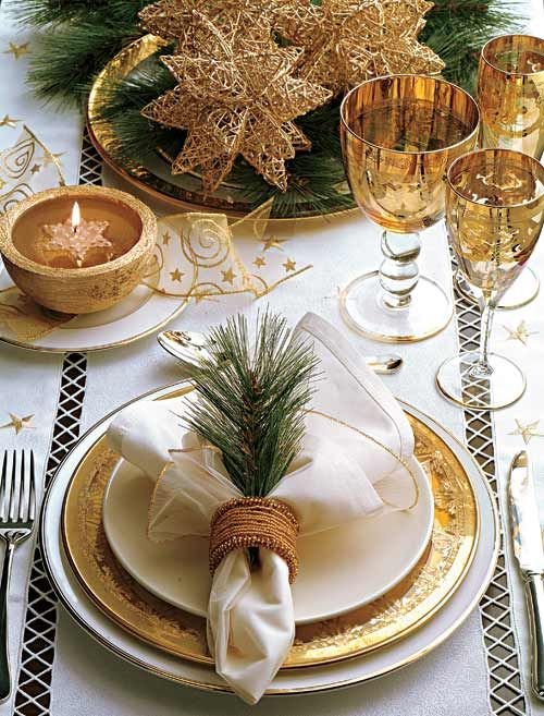 Golden Christmas Table