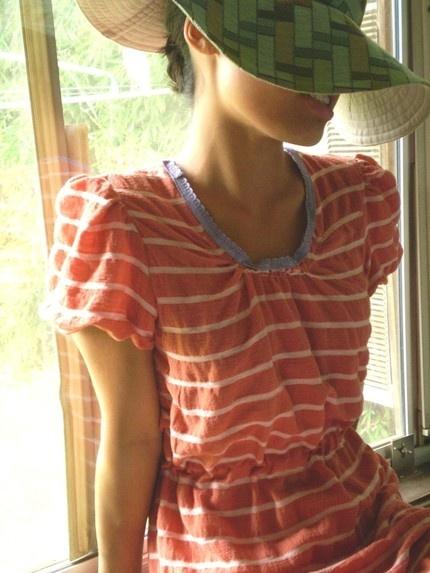Striped summer dress: orange & white striped summer dress